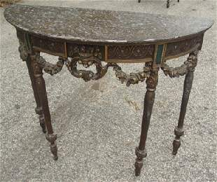 carved Italian style demilune table