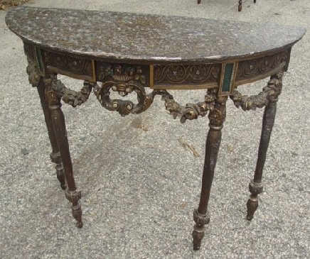 2: carved Italian style demilune table