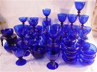 large lot of cobalt glassware