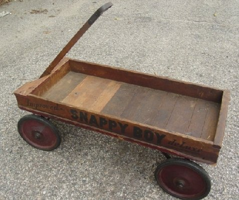 11: antique wooden Snappy Boy child's wagon