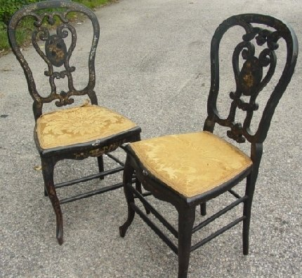 13: Pair MOP decorated English chairs