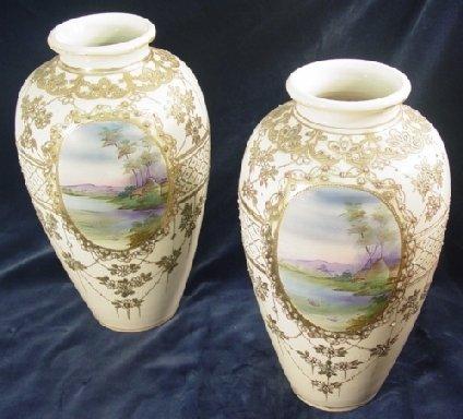 16: Pair of Japanese Nippon vases