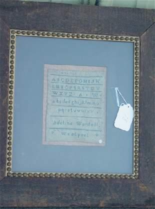 early 19th c Adeline Wordell sampler