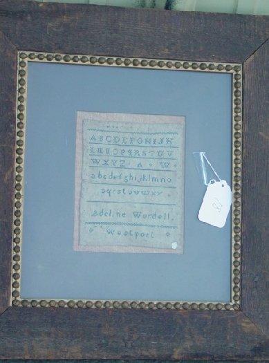 18: early 19th c  Adeline Wordell sampler