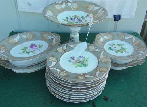 215: hand painted attr. Tucker china pieces