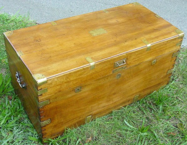 2: large antique China trade brass bound camphor chest,