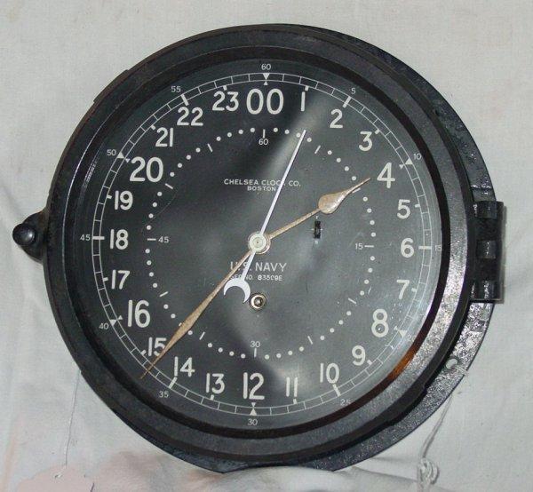 "9: 9"" diameter Chelsea clock, US Navy bakelite case"