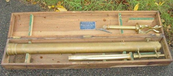 10: cased 19th c. brass telescope by Aloe & Co.