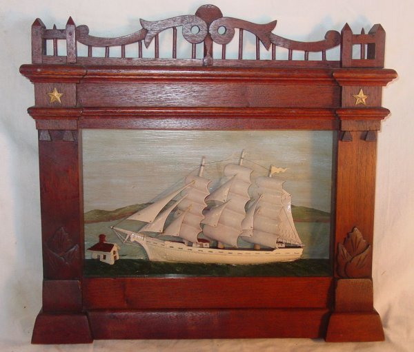 12: Victorian shadowbox of 3 masted ship