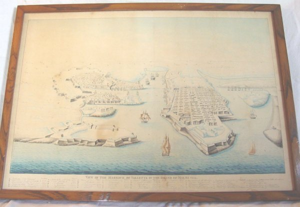 13: Framed antique watercolor map of Malta, 1836