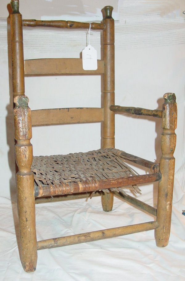 14: antiqueCountry child's armchair in old salmon paint