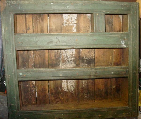 17: Antique primitive wall cupboard in green paint