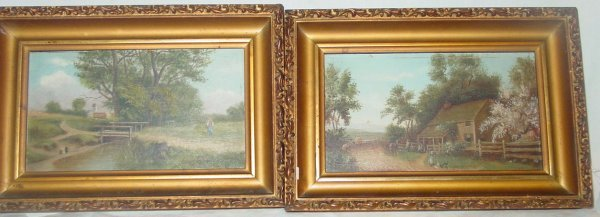 21: Pair of primitive landscape paintings on board,
