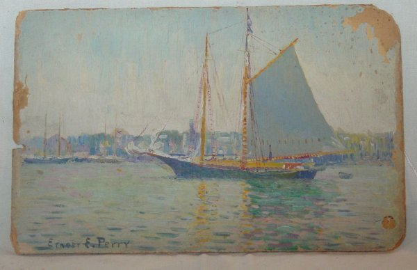 24: Oil painting by Ernest Perry of Provincetown harbor