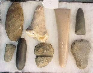 American Indian Pre-Algonquin and Missouri axe heads