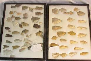 American Indian arrowheads - 2 tray lots