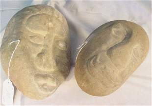 American Indian carved stone head artifacts