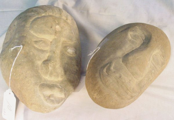 10: American Indian carved stone head artifacts