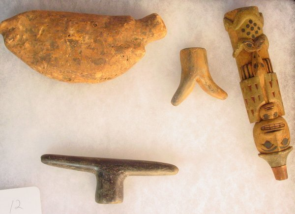 12: 4 American Indian stone artifacts including 3 rare