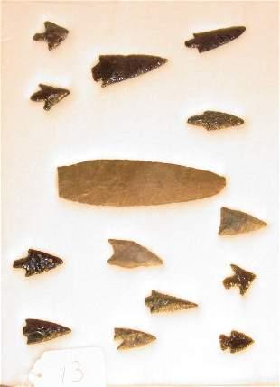 14 American Indian stone artifact arrowheads