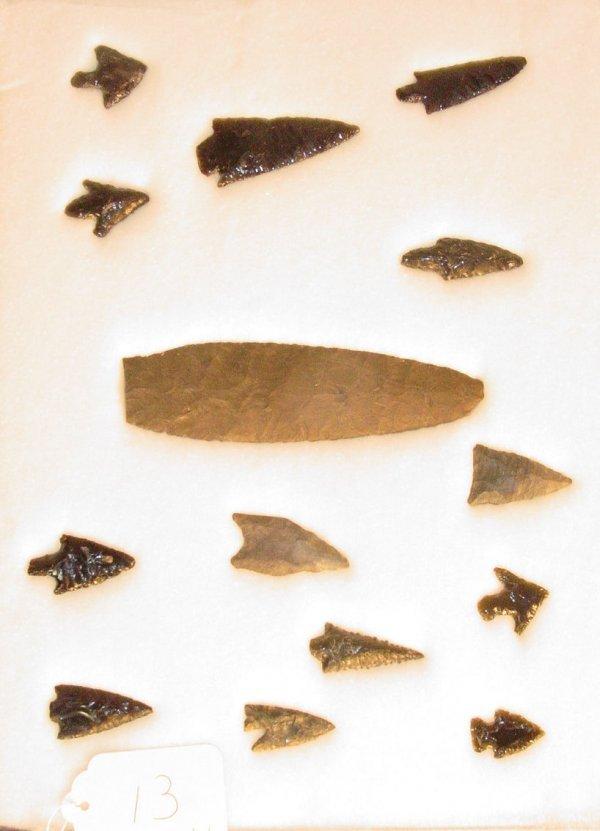 13: 14 American Indian stone artifact arrowheads