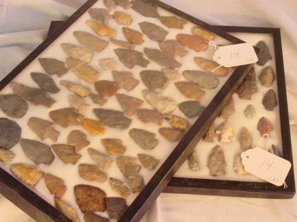 14: 2 tray lots of American Indian stone arrowheads