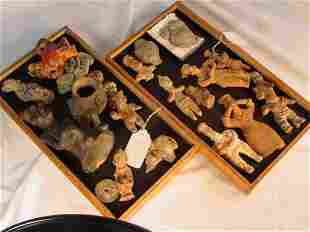 two trays of Pre Columbian artifacts