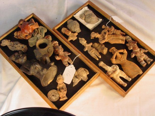 16: two trays of Pre Columbian artifacts