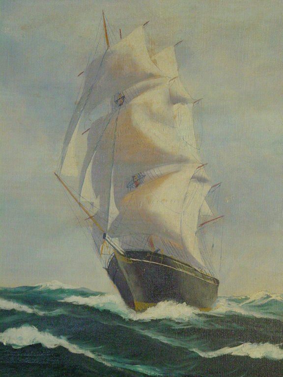 18: Oil on canvas by T Bailey of sailing ship, 24 x 31,