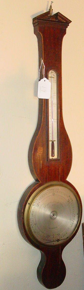 19: 19th c. English banjo barometer by Joseph Samalvico
