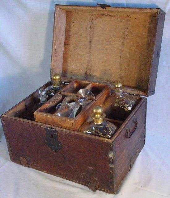 31: Cased antique sea captains liquor chest  - 2