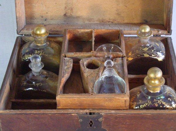 31: Cased antique sea captains liquor chest  - 3