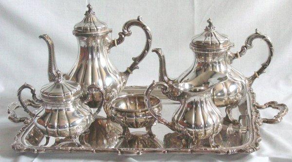 61: 6 piece Sterling Silver teaset, Peruvian silver 925