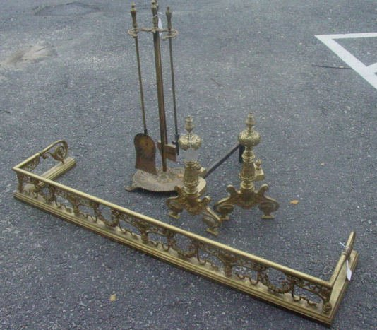 8: French brass fire set
