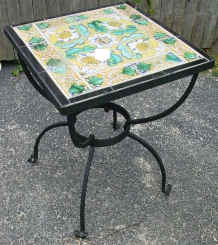 9: wrought iron tile top table