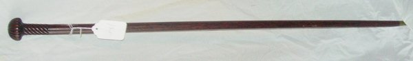 "2: 36"" 19th c. cane, swirled hardwood top"