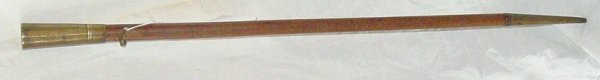 """8: 29"""" rare 18th c. cane, brass tip and finial"""