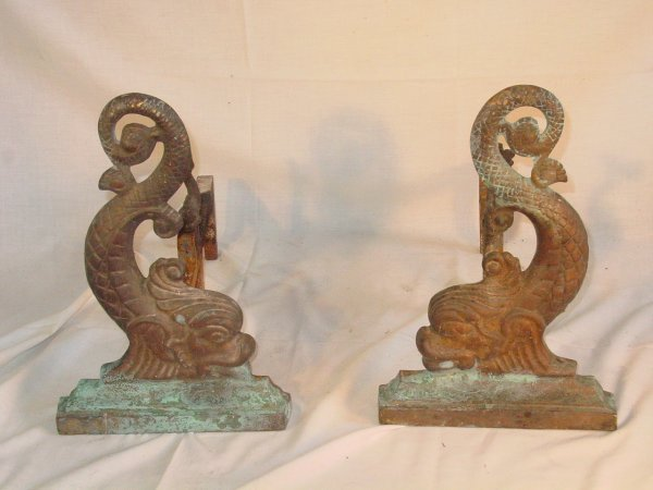 """17: Pair 15"""" tall brass andirons in dolphin form"""