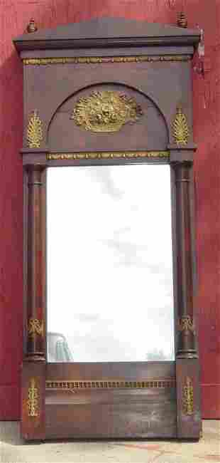 """21"""" x 52"""" French Directoire mirror, bronze mounted,"""
