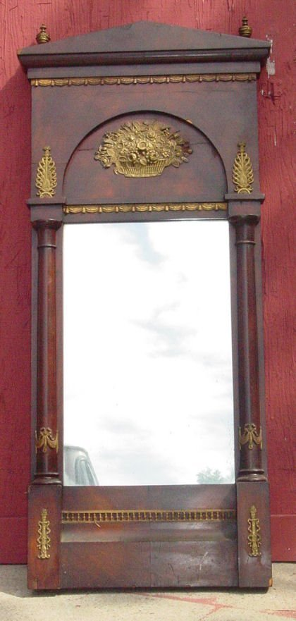 """19: 21"""" x 52"""" French Directoire mirror, bronze mounted,"""