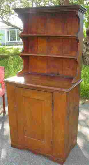 19th c. pine two part step back cupboard