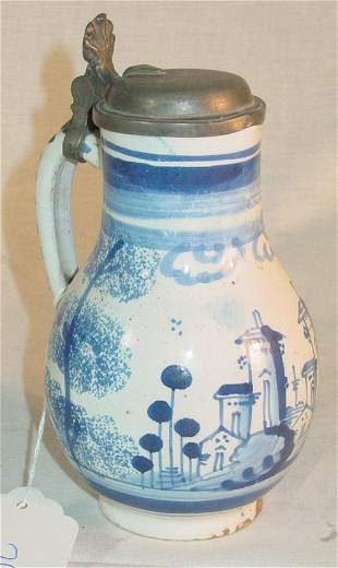 """6 1/2"""" tall 18th c. Delft syrup with pewter lid"""