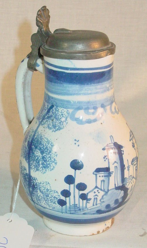 """24: 6 1/2"""" tall 18th c. Delft syrup with pewter lid"""