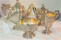 55 4 piece chased sterling silver teaset no tray