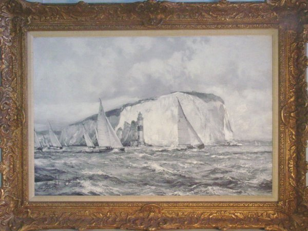 106: Montague Dawson oil on board, monochromatic view