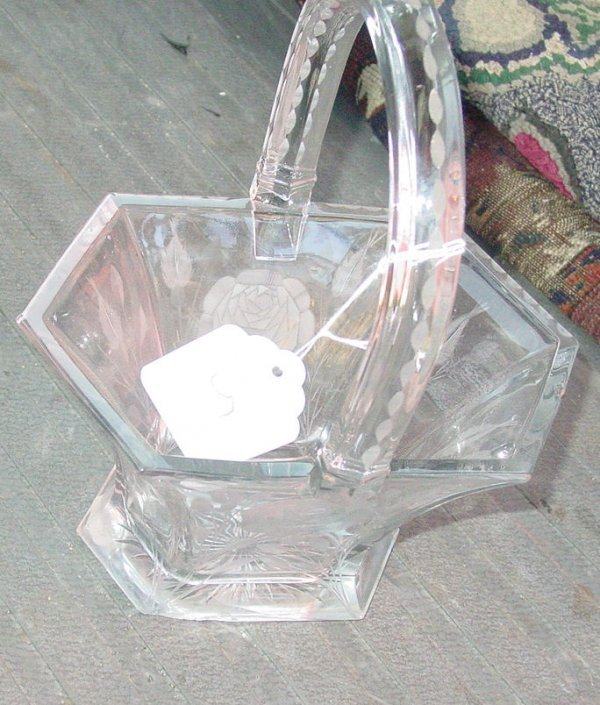 1005: Heisey etched glass basket