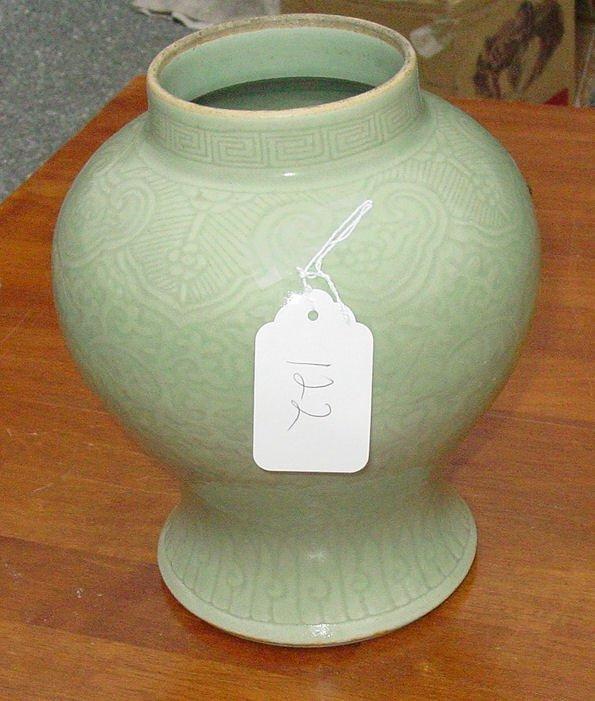 1122: 19th c. Oriental Celedon vase