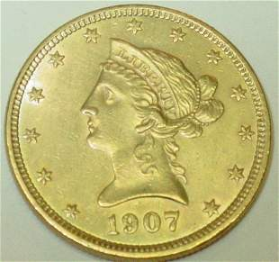 1907 10$ gold US coin