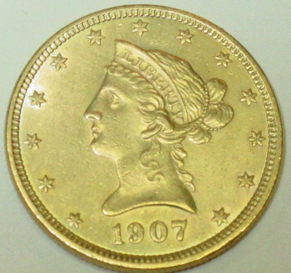 1: 1907 10$ gold US coin