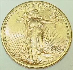 1911-D $20 gold US coin, St. Gaudens